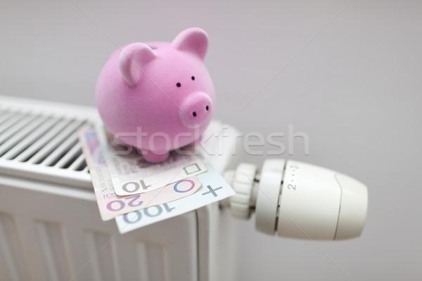 Salvadanaio soldi radiatore energia finanziare Foto d'archivio © sqback