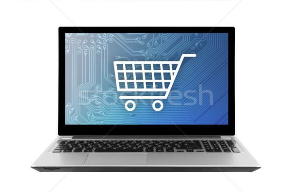 Stock fotó: Bevásárlókocsi · grafikus · laptop · izolált · fehér · vágási · körvonal