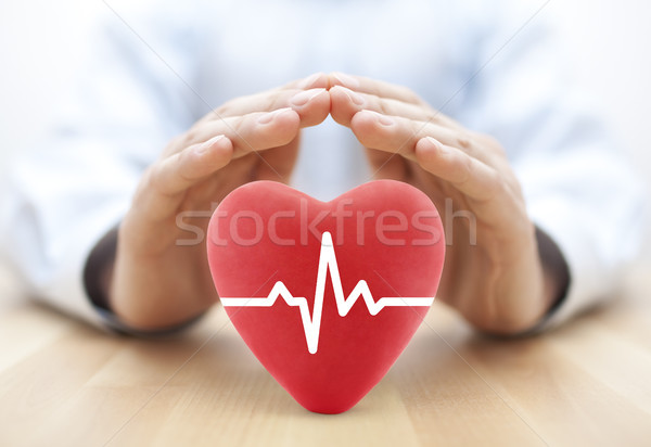 Heart pulse covered by hands. Health insurance concept  Stock photo © sqback
