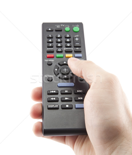 Hand pressing remote control isolated on white Stock photo © sqback