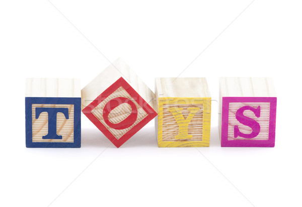 Stock photo: Alphabet blocks spelling the word toys with clipping path