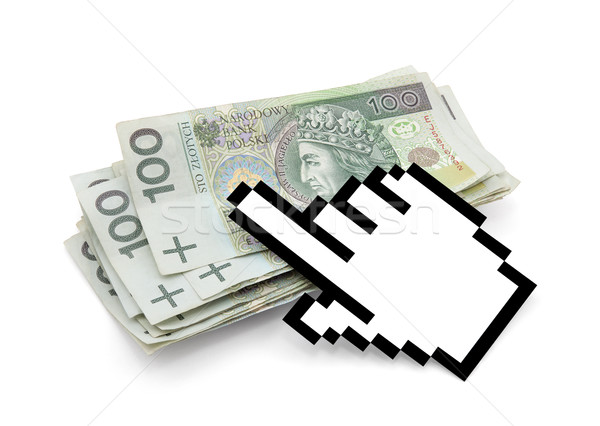 Ordenador mano cursor dinero tecnología Foto stock © sqback