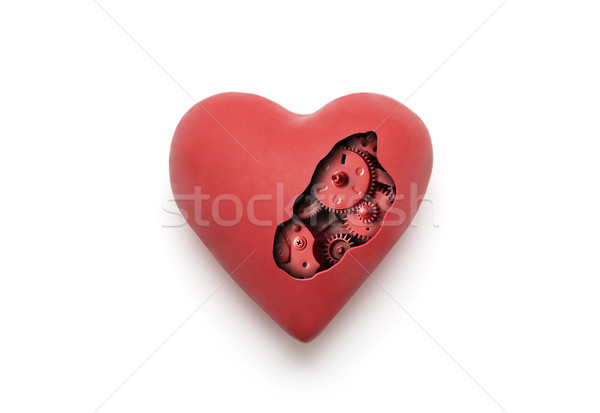 Red mechanical heart over white background with clipping path  Stock photo © sqback
