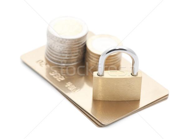 Tarjeta de crédito pago seguridad negocios metal oro Foto stock © sqback