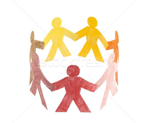 Kółko kolorowy ludzi rodziny papieru Zdjęcia stock © sqback
