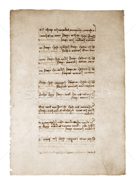 Old leaf of a paper with inscriptions by Leonardo Da Vinci Stock photo © sqback