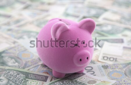 Pink piggy bank on computer keyboard Stock photo © sqback
