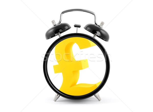 Tijd is geld wekker gouden pond symbool business Stockfoto © sqback