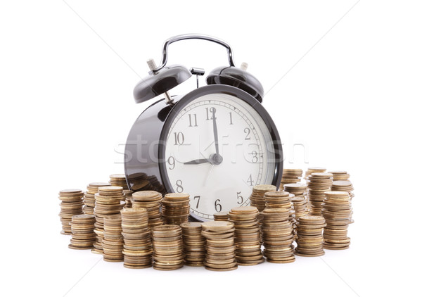Il tempo è denaro sveglia monete business metal Foto d'archivio © sqback