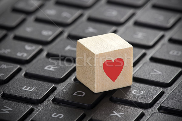 木製 赤 心臓の形態 ノートパソコンのキーボード コンピュータ インターネット ストックフォト © sqback