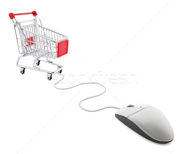 Internet shopping. Computer mouse and shopping cart. Stock photo © sqback