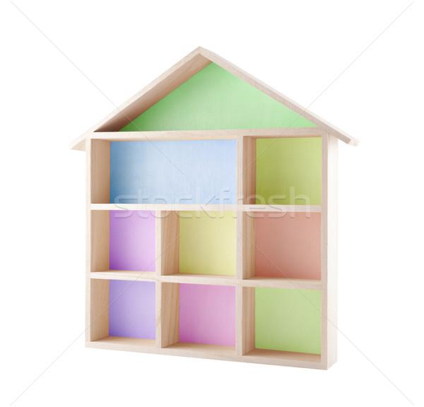 Renkli ahşap ev raf yalıtılmış Stok fotoğraf © sqback