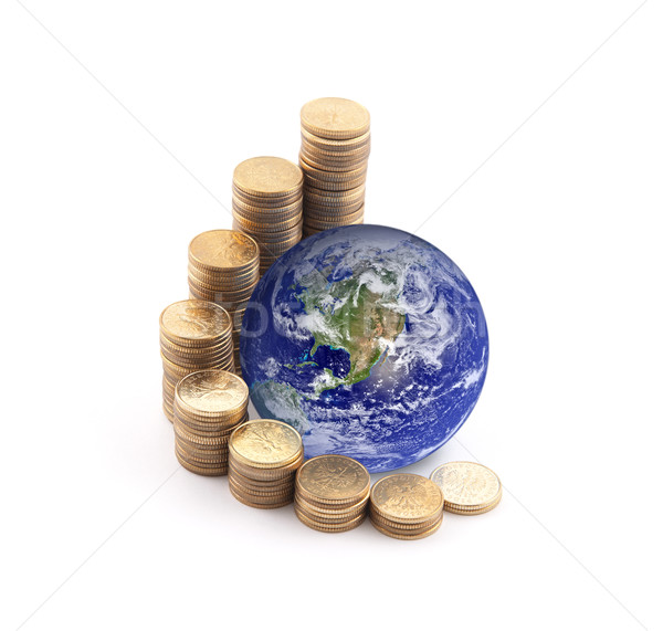 World standing on money. Earth image provided by Nasa. Stock photo © sqback