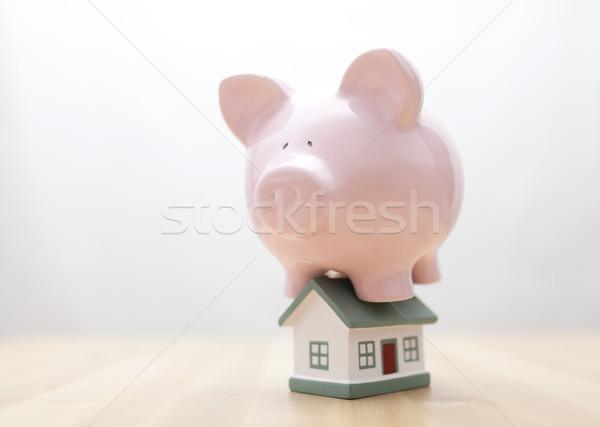 Otthoni pénzügyek ház pénzügy bank játék rózsaszín Stock fotó © sqback