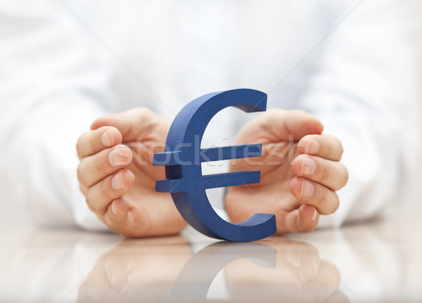 Euro sign protected by hands  Stock photo © sqback