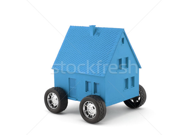 Blue house on wheels isolated on white with clipping path  Stock photo © sqback