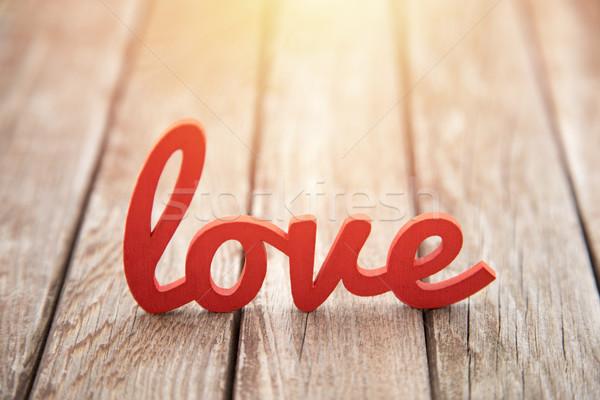 Wort Liebe Holz Sonnenuntergang glücklich Licht Stock foto © sqback