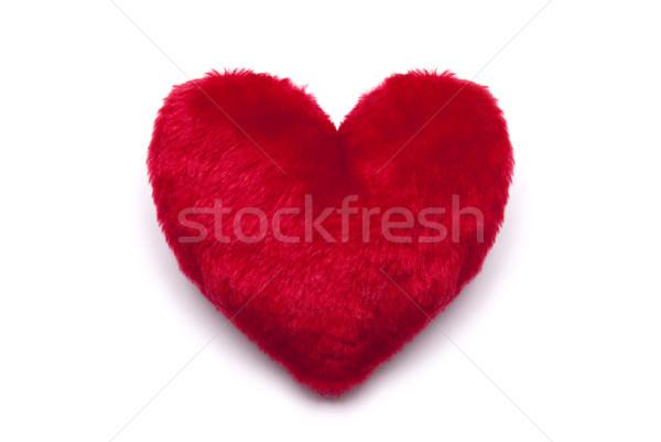 Peluche rouge coeur blanche amour tissu Photo stock © sqback