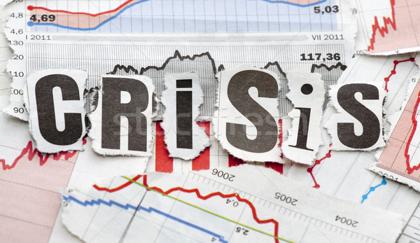 Finanzkrise Business News Schreiben rot Finanzierung Stock foto © sqback