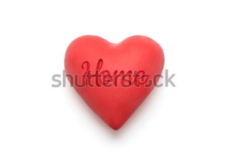 Kırmızı kalp beyaz imzalamak yol Stok fotoğraf © sqback