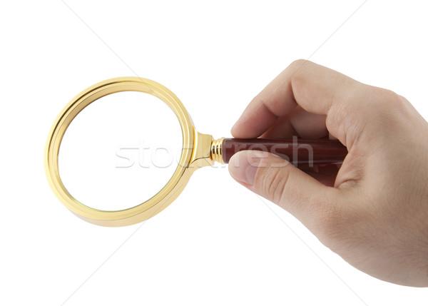 ストックフォト: 虫眼鏡 · 手 · 男 · ガラス · 手のひら