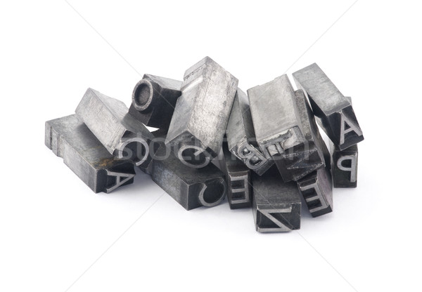 Metal letterpress printing blocks with clipping path Stock photo © sqback