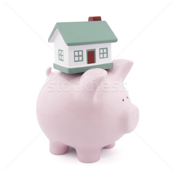 Otthoni pénzügyek vágási körvonal ház bank piac rózsaszín Stock fotó © sqback