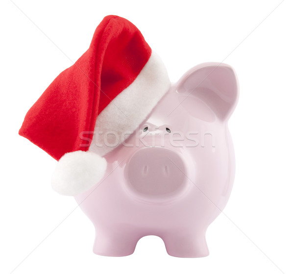 Alcancía papá noel sombrero dinero invierno Foto stock © sqback