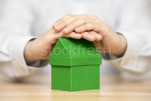 Small green house protected by hands  Stock photo © sqback