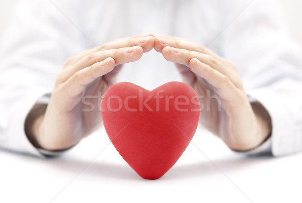 Red heart covered by hands. Health insurance or love concept  Stock photo © sqback
