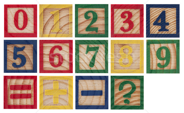 Wooden colorful numbers isolated on white Stock photo © sqback