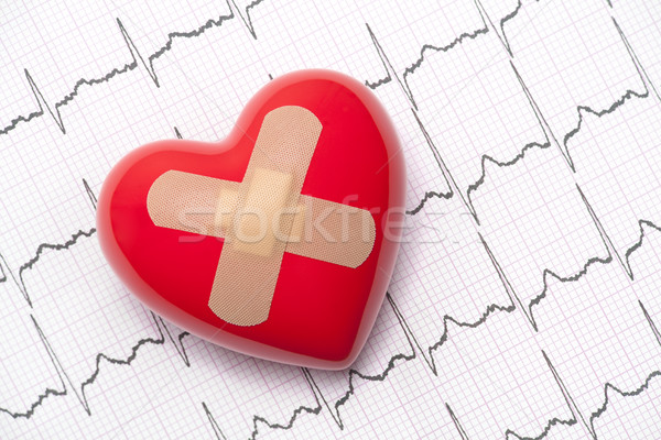 Red heart with adhesive plaster on electrocardiogram (ECG, EKG)  Stock photo © sqback