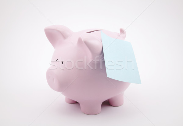 Piggy Bank напоминание сведению игрушку финансовых лист Сток-фото © sqback