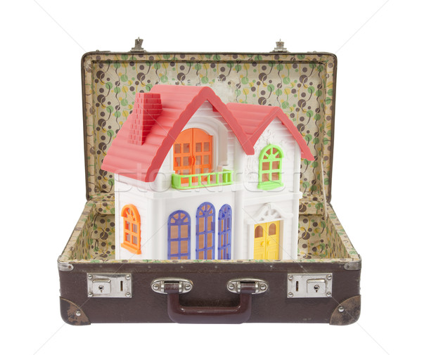 New colorful house in old suitcase with clipping path Stock photo © sqback