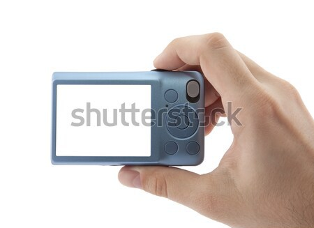 Hand holding compact digital camera with clipping path Stock photo © sqback