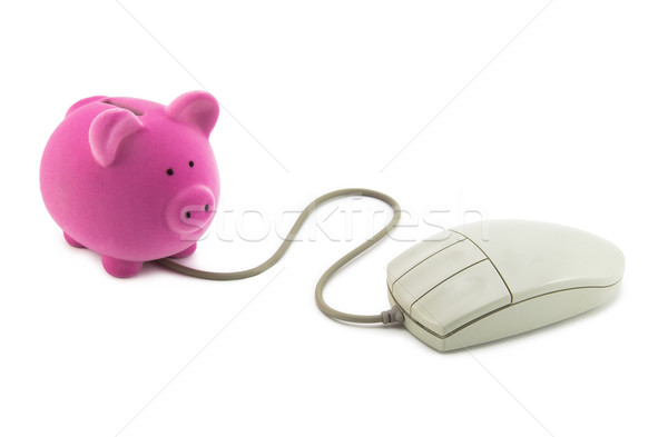 Piggy bank with computer mouse. Clipping path included. Stock photo © sqback