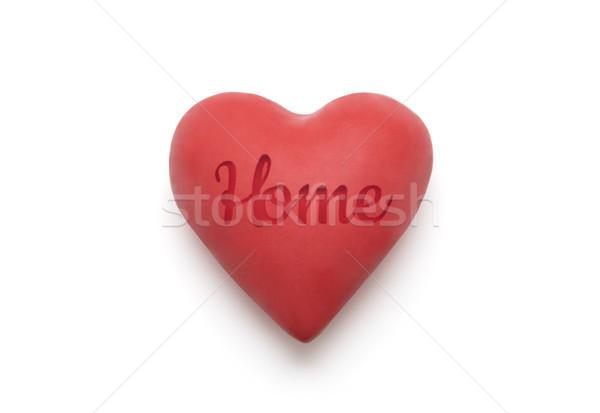Kırmızı kalp ev kelime beyaz Stok fotoğraf © sqback