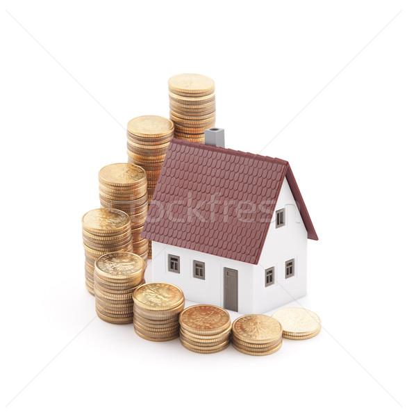 Immobilier affaires argent bâtiment Finance blanche Photo stock © sqback