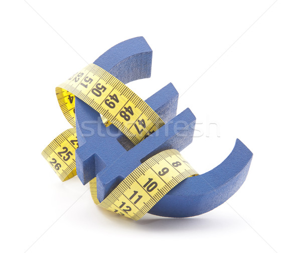 Blue euro symbol with measuring tape Stock photo © sqback