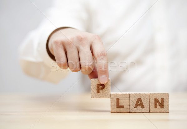 Hand and word Plan made with wooden building blocks  Stock photo © sqback