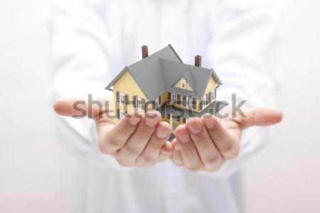 Mavi ev eller ev sigortası adam inşaat Stok fotoğraf © sqback
