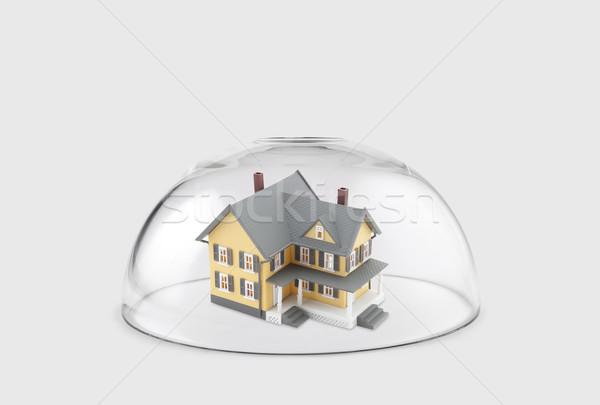 Ház védett üveg kupola építkezés otthon Stock fotó © sqback