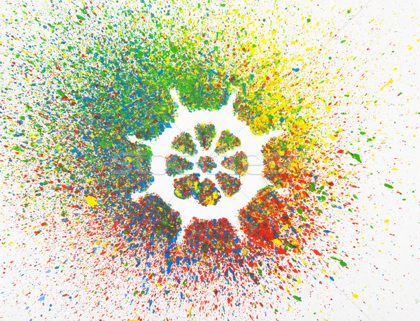 Rudder shape over background with colorful splashes  Stock photo © sqback