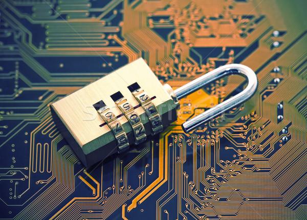 Computer sicurezza lucchetto circuito tecnologia rete Foto d'archivio © sqback
