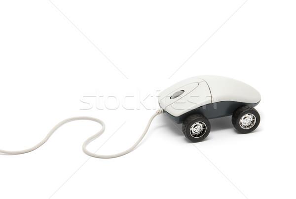 Bilgisayar fare tekerlekler yalıtılmış beyaz araba Stok fotoğraf © sqback