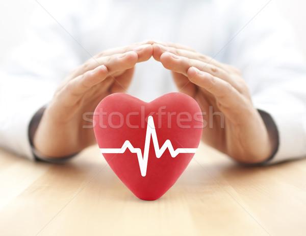 Szív pulzus fedett kezek egészségbiztosítás férfi Stock fotó © sqback