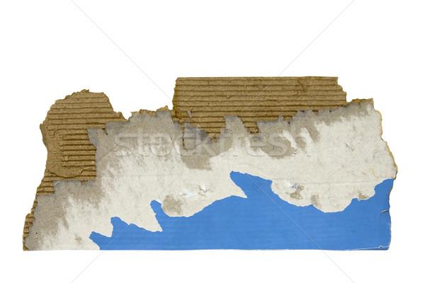 Desgarrado pieza cartón papel azul Foto stock © sqback
