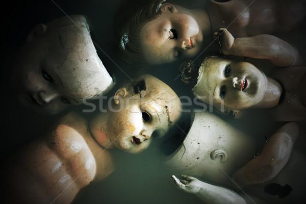 Hátborzongató babák víz gyermek retro sötét Stock fotó © sqback