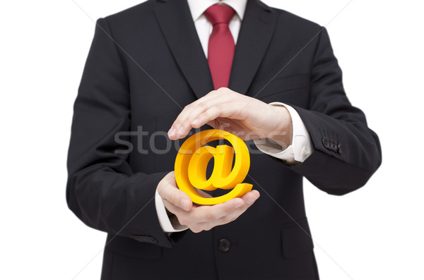 3d email symbol protected by hands. Clipping path included.  Stock photo © sqback