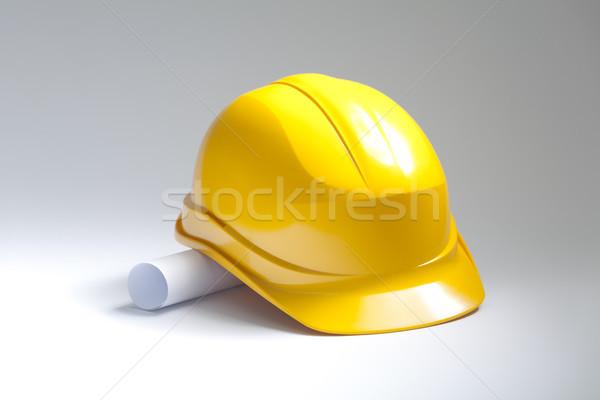 Sarı kask çizimler kâğıt inşaat çalışmak Stok fotoğraf © sqback